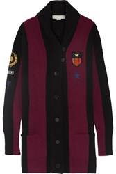 Stella Mccartney Striped Appliqued Wool Blend Cardigan Merlot