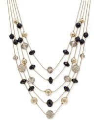 Inc International Concepts Gold Tone Bead And Crystal Layered Necklace Only At Macy's