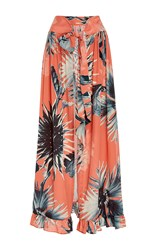 Adriana Degreas Flower Print Maxi Skirt Pink