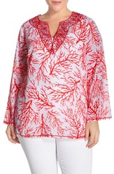 Plus Size Women's Michael Michael Kors 'Solana' Print Embroidered Tunic