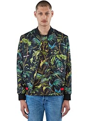Gucci Satin Tropical Print Bomber Jacket Black
