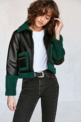 Silence And Noise Opia Vegan Sherpa Leather Jacket Dark Green