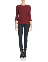 1.State Cable Front Peplum Sweater Wine