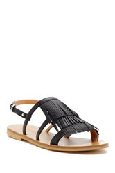 J.Crew Leather Fringe Sandal Black