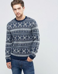 Asos Lambswool Rich Jumper With All Over Fairisle Navy