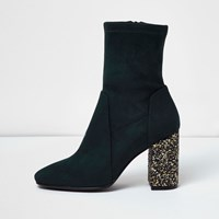 River Island Womens Dark Blue Panel Glitter Heel Boots