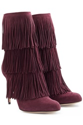 Paul Andrew Fringed Suede Booties Purple