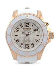 Kyboe Rose Goldtone Stainless Steel Silicone Strap Watch White Rosegold