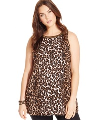 Alfani Plus Size Sleeveless Beaded Animal Print Top Swift Leopard