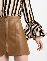 Pixie Market Brown Leather Ring Circle Zip Skirt