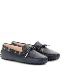 Tod's Heaven New Lacetto Leather Loafers Blue