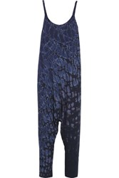 Raquel Allegra Tie Dyed Cotton Blend Jersey Jumpsuit Indigo