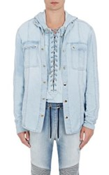Balmain Men's Snap Front Shirt Light Blue