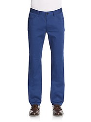 Saks Fifth Avenue Five Pocket Stretch Cotton Trousers Bright Blue