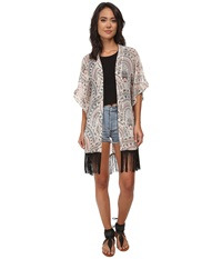 Steve Madden Aztec Scallop Fringed Topper Silver Women's Clothing