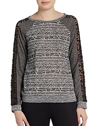 Scrapbook Printed Lace Paneled Frency Terry Pullover Charcoal
