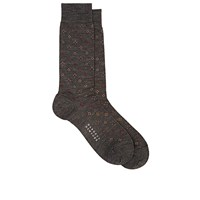 Barneys New York Diamond Pattern Mid Calf Socks Dark Gray