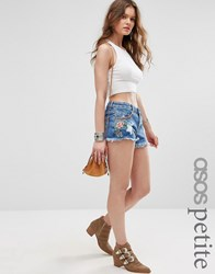Asos Petite Denim Embroidered Side Split Short In Midwash Blue With Raw Hem Blue