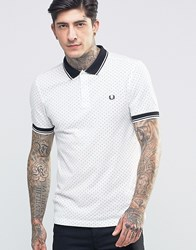 Fred Perry Polo Shirt With Polka Dot In Snow White In Slim Fit Snow White