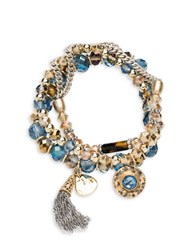 Lonna And Lilly Three Layered Beaded Stretch Bracelet Gold