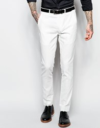 Devils Advocate Devil's Advocate Skinny Stretch Fit Herringbone Suit Trousers White