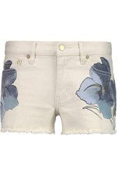 Tory Burch Amanda Floral Print Denim Shorts White