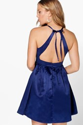Boohoo Sateen Open Back Detail Prom Dress Navy