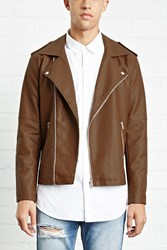 Forever 21 Faux Leather Moto Jacket Brown