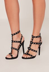 Missguided Black Dome Studded Gladiator Heels