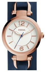 Fossil 'Georgia' Round Leather Cuff Watch 26Mm Navy Rose Gold