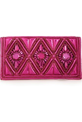 Balmain Embellished Metallic Leather And Lame Clutch Pink