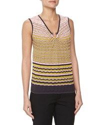 M Missoni Sleeveless Zigzag Knit Blouse Pink