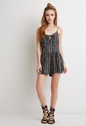 Forever 21 Embroidered Tribal Print Romper Charcoal Multi