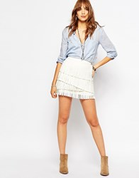 Pepe Jeans Fringe Leather Look Mini Skirt Cream