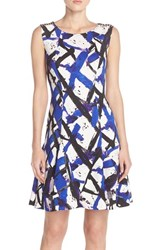 Women's Betsey Johnson Print Scuba Fit And Flare Dress