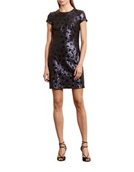 Lauren Ralph Lauren Carona Polka Dot Sequin Dress Navy Shine Black Shine
