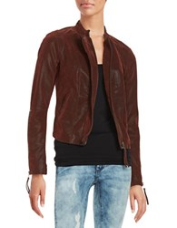 Free People Faux Leather Moto Jacket Red