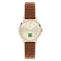 Orla Kiely Women's Floral Stamp Dial Leather Strap Watch Tan Nude