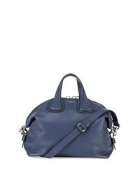 Nightingale Medium Waxy Leather Satchel Bag Dark Blue Givenchy
