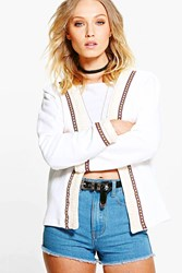 Boohoo Embroidered Trim Trophy Jacket White
