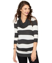 A Pea In The Pod Maternity Striped Cowl Neck Sweater White Charcoal