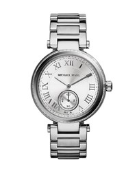 Michael Michael Kors Mid Size Silvertone Touch Of Glitz Two Hand Watch