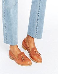 Office Fling Tassle Brogue Leather Loafers Tan Leather Suede Multi