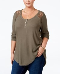 American Rag Trendy Plus Size Lace Trim Henley Only At Macy's Dusty Olive