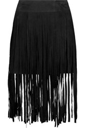 Mcq By Alexander Mcqueen Fringed Suede Midi Skirt Black