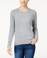 Karen Scott Cable Knit Crew Neck Sweater Only At Macy's Smoke Grey Heather Combo