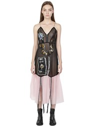 Rolling Acid Sequined Patches Swiss Dot Tulle Dress