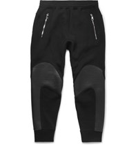 Neil Barrett Lim Fit Tapered Faux Leather Panelled Bonded Jerey Weatpant Black
