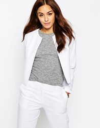 Asos Crop Blazer In Linen White