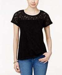 Styleandco. Style And Co. Short Sleeve Lace Detail Top Only At Macy's Deep Black